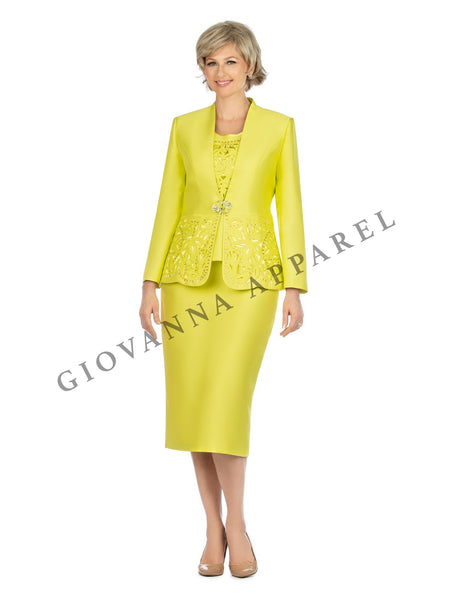 3pc Collarless Cutout & Beading Skirt Suit