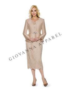 3pc Peplum Bell Sleeve Skirt Suit