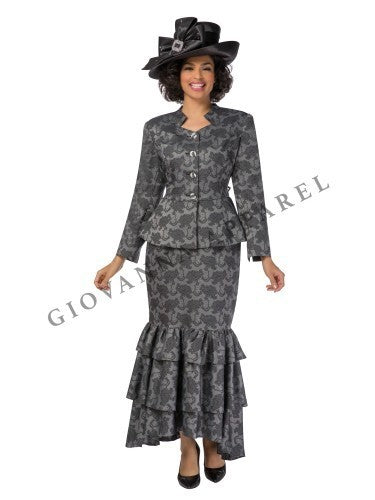 2pc Textured Peplum Jacket & Long Tierred Skirt