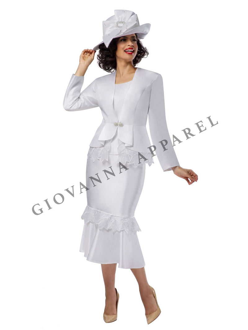 3pc Peplum Pleats Skirt Suit w/ Organza Trim - Plus Size