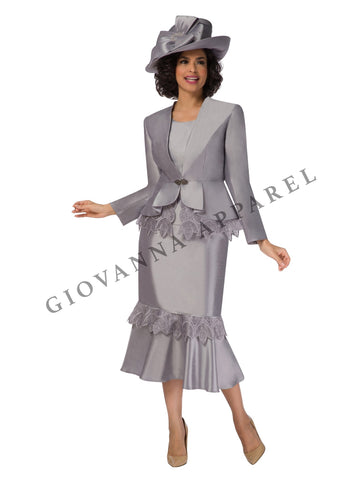 3pc Peplum Pleats Skirt Suit w/ Organza Trim