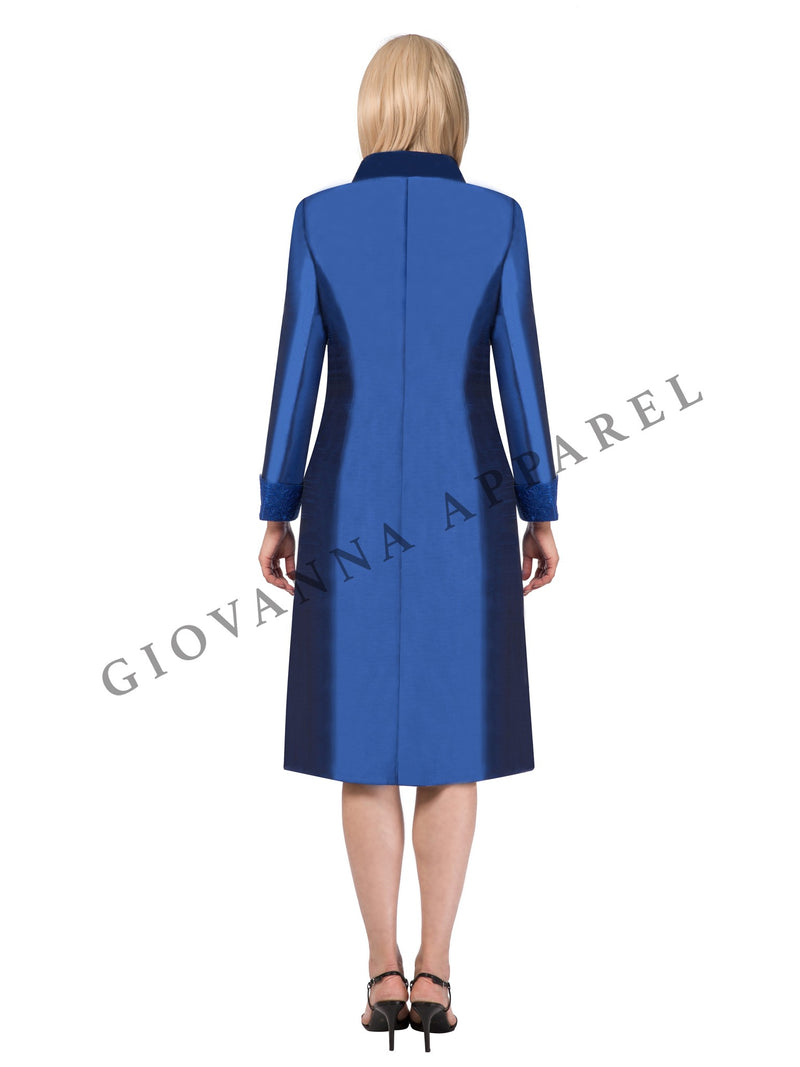 2pc Long Sleeve Coat & Lace Dress with Elegant Brooch