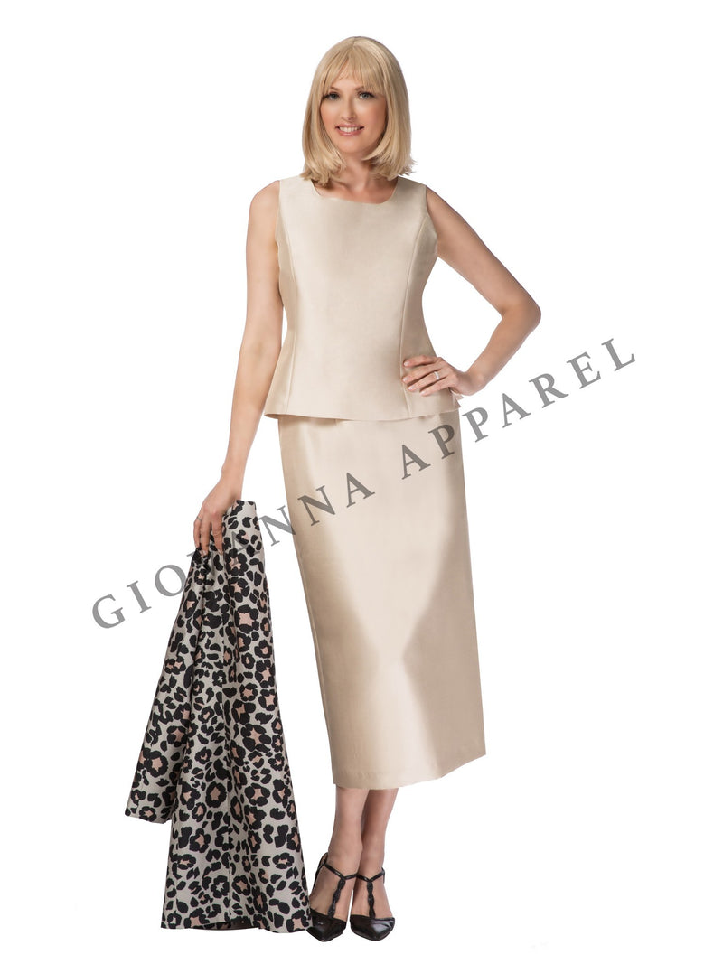 3pc Long Leopard Jacket, Solid Cami & Skirt Set