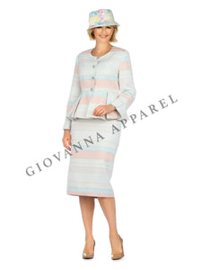 2pc Color Block Piped Brocade Peplum Skirt Suit