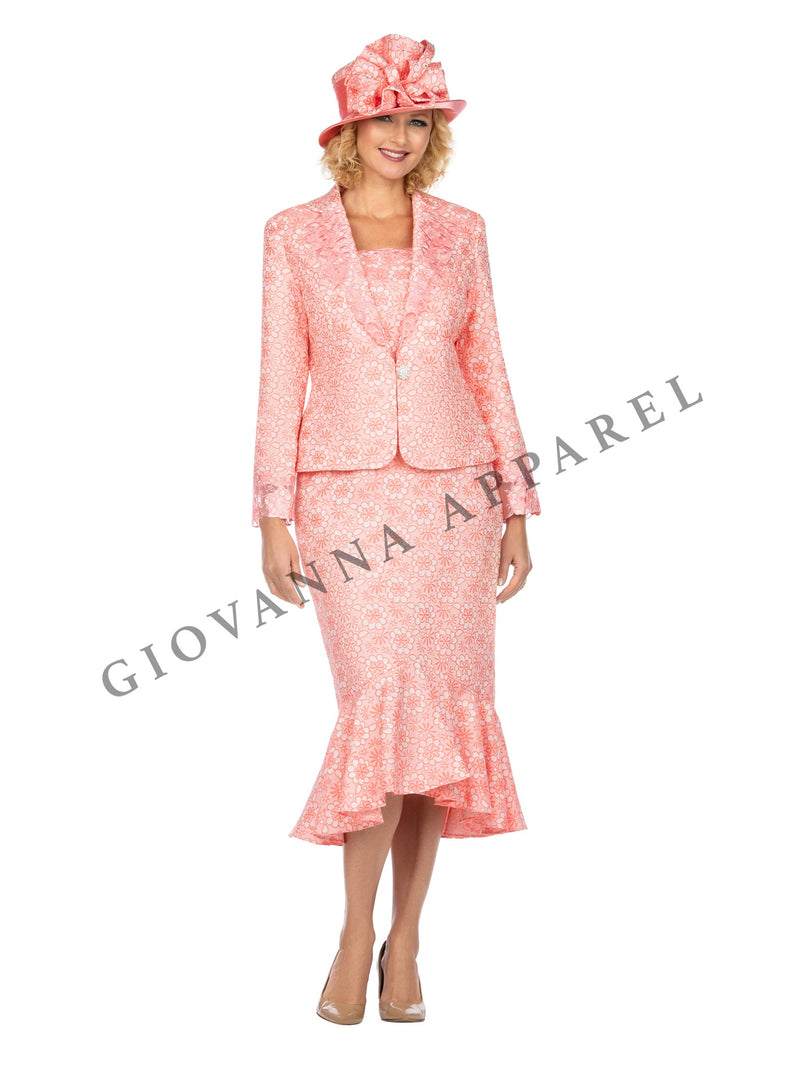 2pc Floral Pattern Brocade Skirt Suit