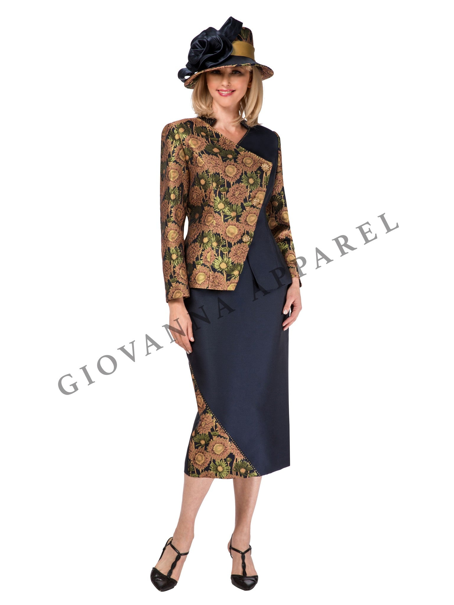 2pc Brocade & Silky Twill Contrast Skirt Suit