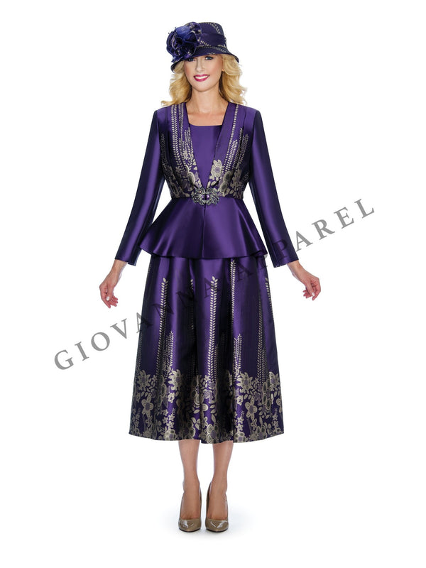 3pc Jacquard on Shimmery Virtual Silk Skirt Suit - Plus Size