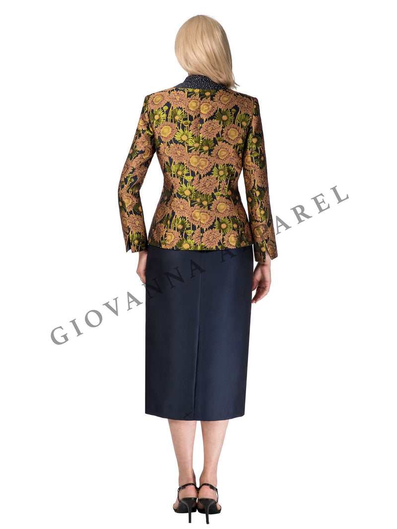2pc Floral Brocade & Silky Twill Skirt Suit - Plus Size