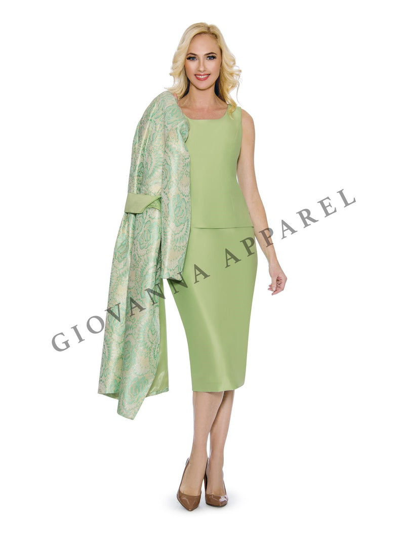 3pc Long Brocade Coat w/ Belt, Solid Cami & Skirt - Plus Size
