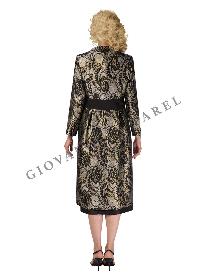 3pc Long Brocade Coat w/ Belt, Solid Cami & Skirt