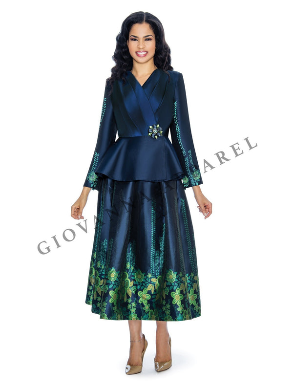 2pc Jacquard on Shimmery Virtual Silk Skirt Suit