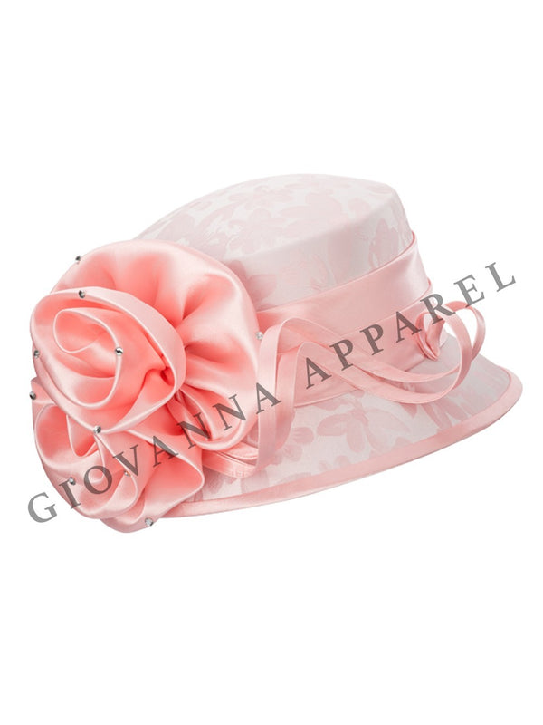 Small Brim Brocade Hat w/ Satin Flower & Ribbon
