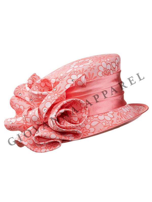 Brocade Small Brim Hat w/ Oversized Flower