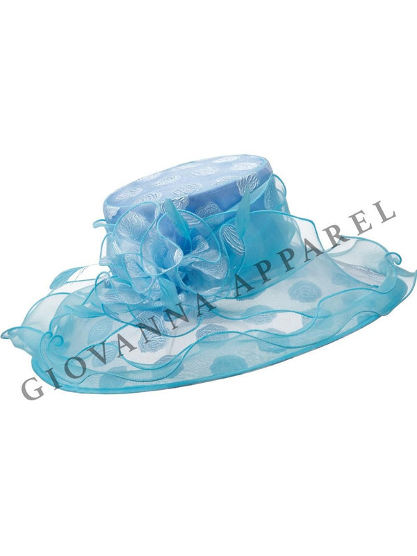 Patterned Organza Wide Brim Hat