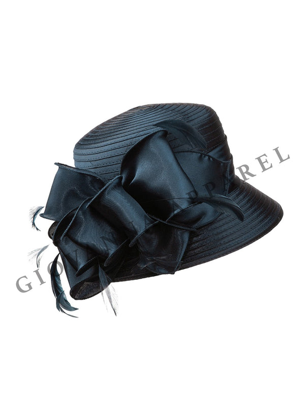 Small Brim Ribbon Hat w/ Organza Bow