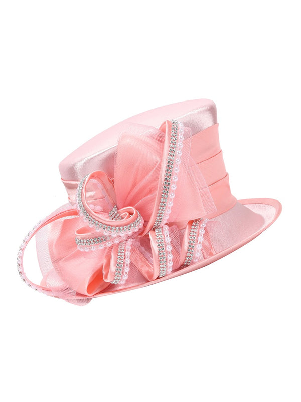 Satin Small Flipped Brim Hat w/ Embellishments
