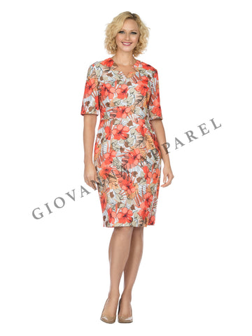 1pc Short Slv Printed Shift Dress - Plus size