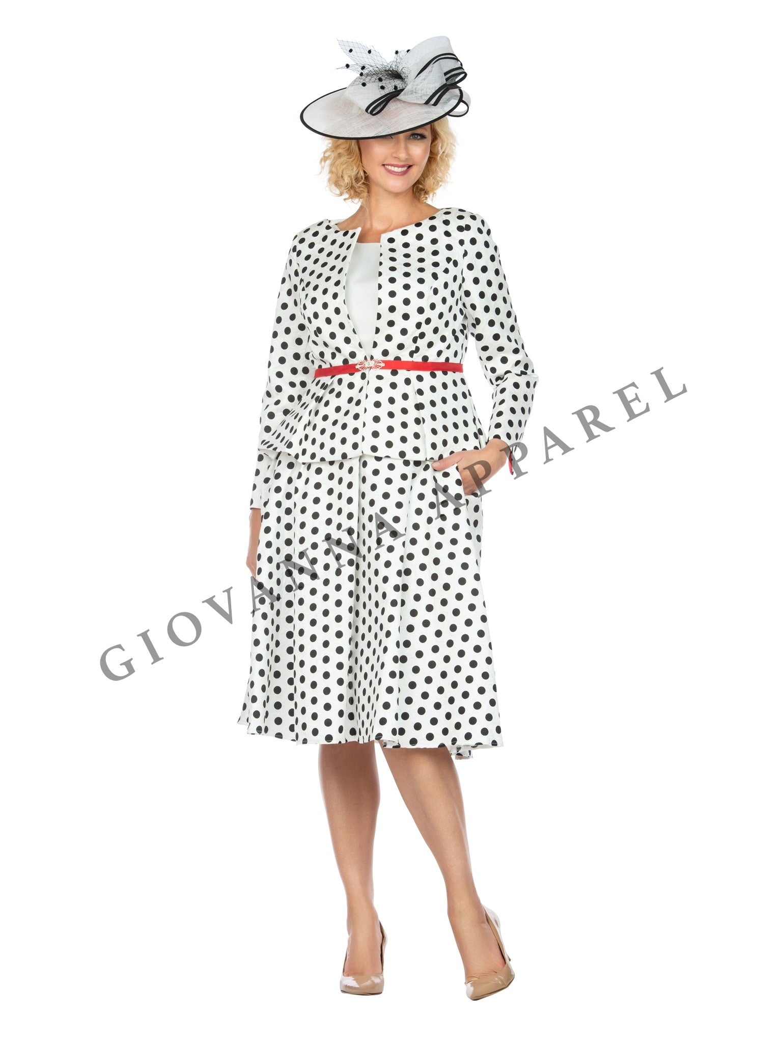 3pc Polka Dot Pattern Brocade Skirt Suit