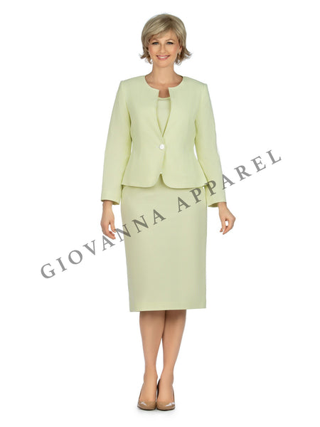 3pc Novelty Skirt Suit w/ Embellished Button - Plus Size