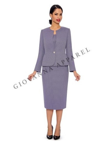 3pc Novelty Skirt Suit w/ Embellished Button