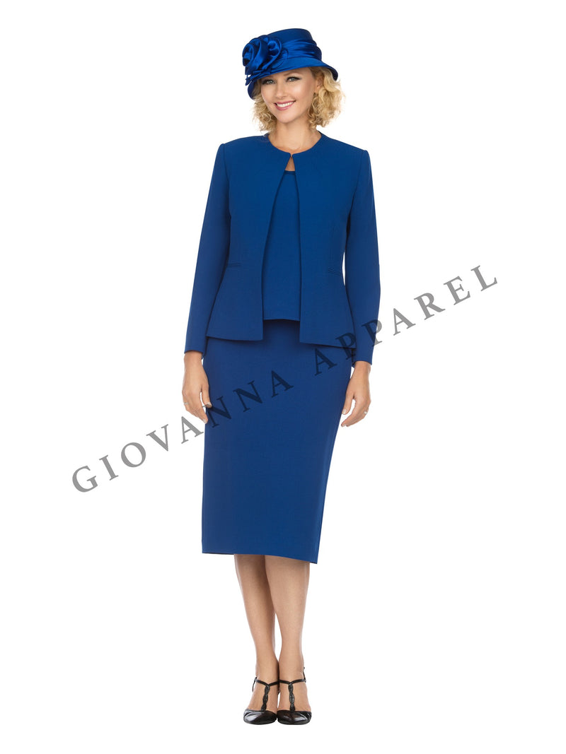 3pc Round Neck Clean Lines Skirt Suit - Plus size