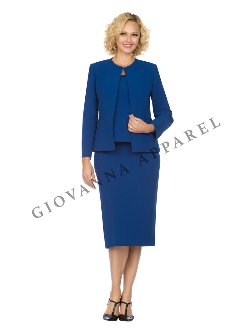 3pc Round Neck Clean Lines Detailed Skirt Suit