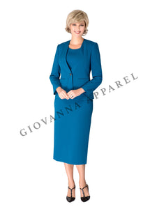 3pc Collarless Clean Lines Detailed Skirt Suit - Plus Size