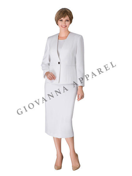 3pc Collarless Clean Lines Detailed Skirt Suit