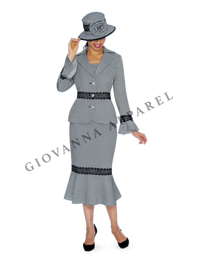 2pc Polka Dot Brocade Suit with Lace Trim