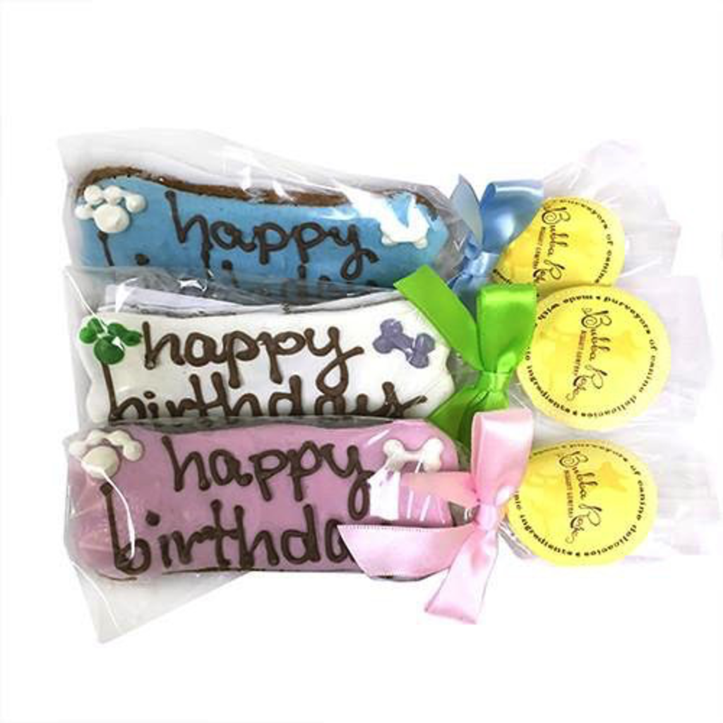 Individually Wrapped Bakery Treat - Happy Birthday Bone