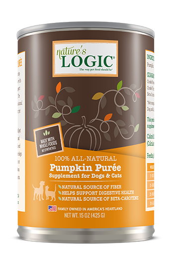 Nature's Logic Pumpkin Purée Dog & Cat Food Supplement, 15-oz can