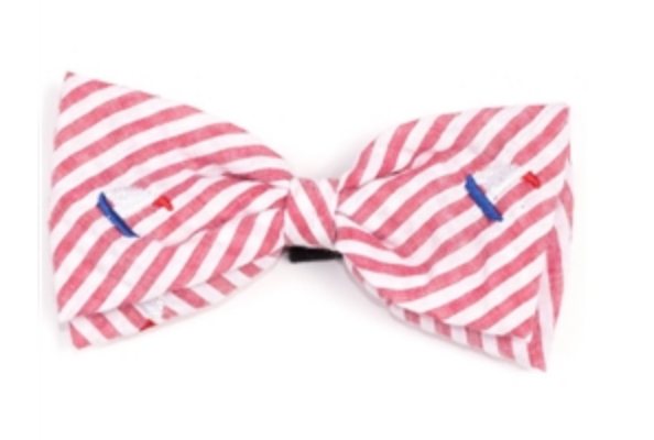 The Worthy Dog Stripe Sailboat Bow Tie
