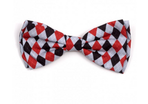 The Worthy Dog Preppy Argyle Red/Gray Bow Tie