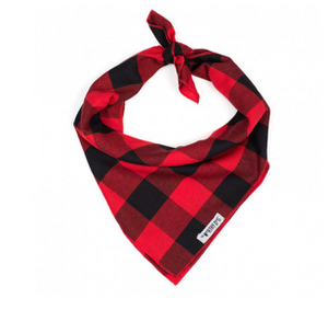 The Worthy Dog Buffalo Plaid Tie-On Bandana
