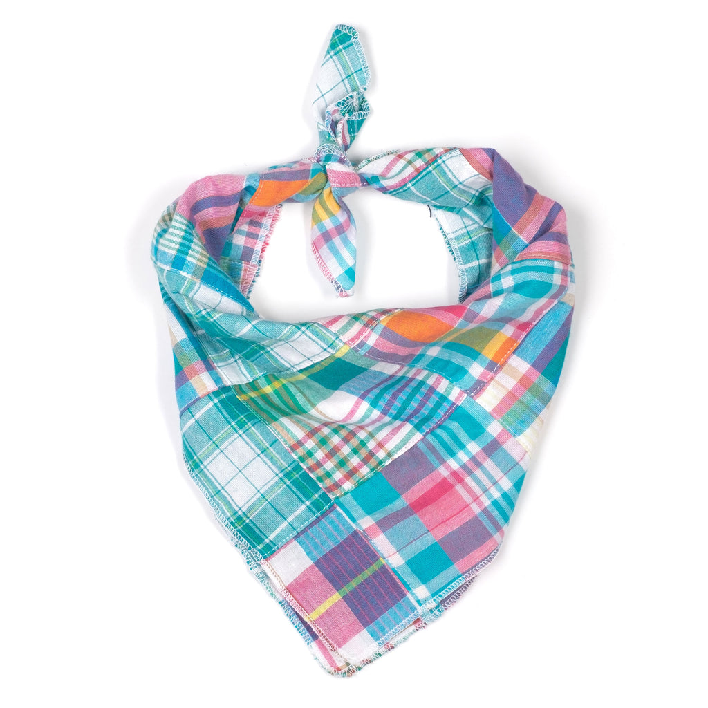 The Worthy Dog Turq Multi Patch Madras Bandana