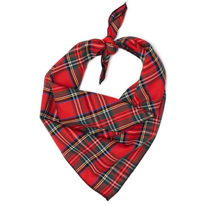 The Worthy Dog Red Plaid III Tie-On Bandana