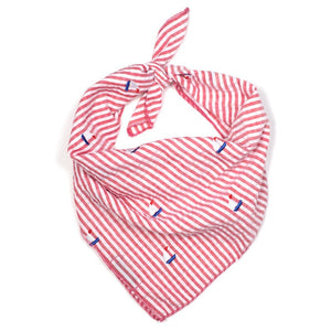 The Worthy Dog Red Stripe Sailboat Bandana