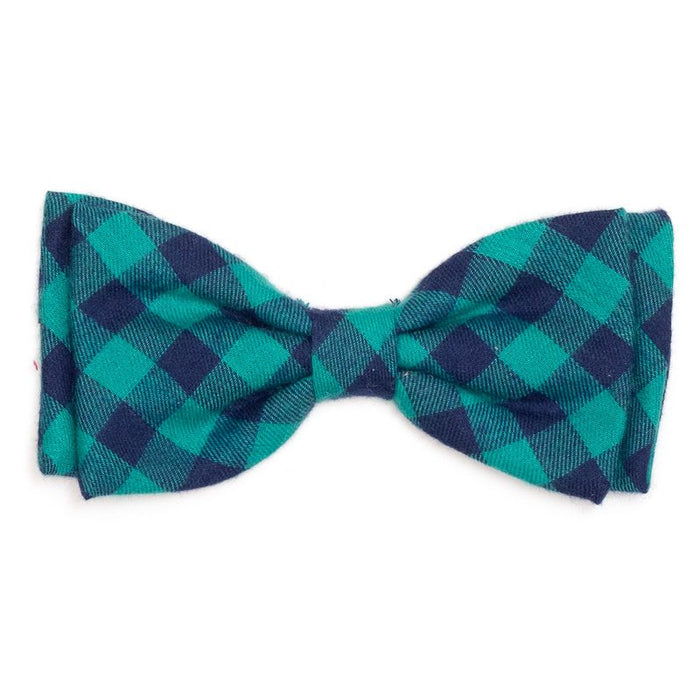 The Worthy Dog Green & Navy Buffalo Check Dog & Cat Bow Tie