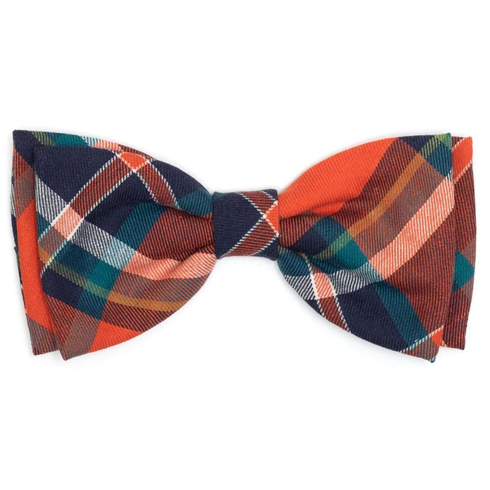 The Worthy Dog Orange & Navy Plaid Dog & Cat Bow Tie