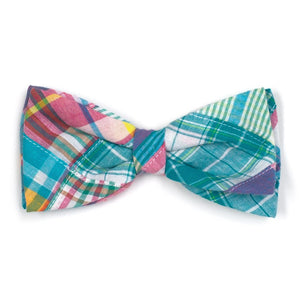 The Worthy Dog Turq Multi Patch Madras Bow Tie