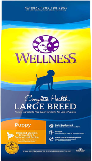 Wellness Large Breed Complete Health Puppy Deboned Chicken, Brown Rice & Salmon Meal Recipe Dry Dog Food, 30-lb bag*
