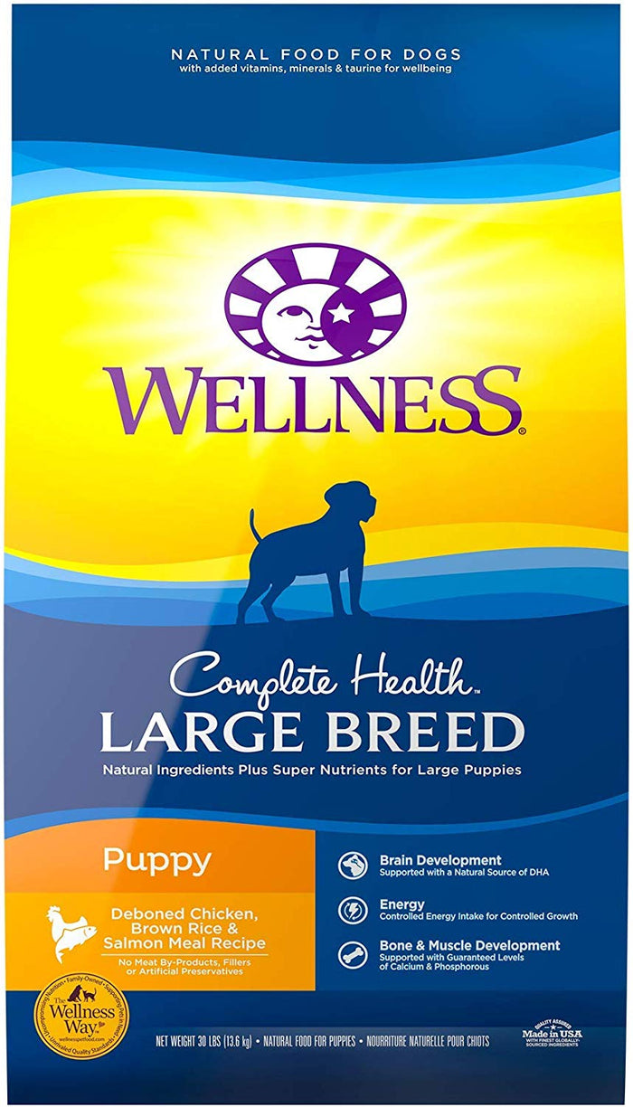 Wellness Large Breed Complete Health Puppy Deboned Chicken, Brown Rice & Salmon Meal Recipe Dry Dog Food, 30-lb bag*Special Order*