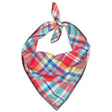 NEW! The Worthy Dog Coral Multi Plaid Bandana