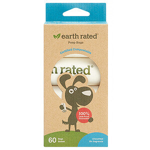 Earth Rated - Compostable Pet Waste Poop Bags (4 rolls, 60 ct)