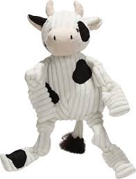HuggleHounds Barnyard Plush Corduroy Knottie Squeaky Plush Dog Toy 16""