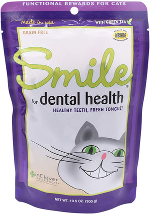 Smile Grain Free Dental Health Treats for Cats by InClover (2.1 oz bag)