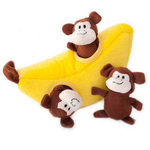 NEW! ZippyPaws - Monkey 'n' Banana, Interactive Squeaky Hide and Seek Plush Dog Toy