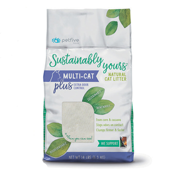 Sustainably Yours Multi-Cat Plus Extra Odor Control From Corn & Cassava Natural Cat Litter