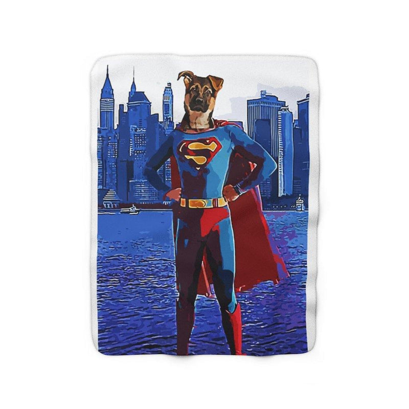 SquishyFacedCrew™ 'SUPERPAWS!' Sherpa Fleece Blanket