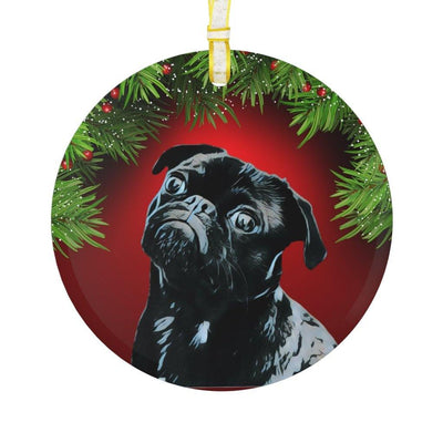 SquishyFacedCrew Personalised Pet Pop Art Glass Ornament